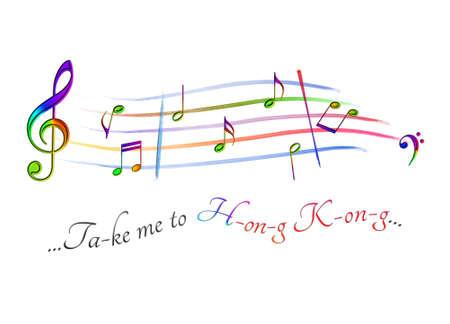 Musical score colored Take me to Hong Kong