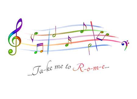 Musical score colored Take me to Tokyo