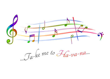Musical score colored Take me to Havana
