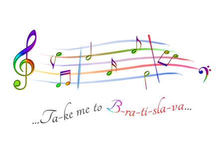 Musical score colored Take me to Bratislava Archivio Fotografico