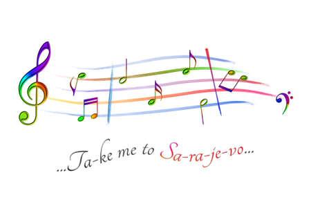 Musical score colored Take me to Sarajevo Stock Photo