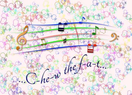 Musical score colored Chew the fat