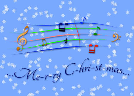 Musical score colored Merry Christmas
