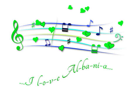 Musical score colored I love Albania