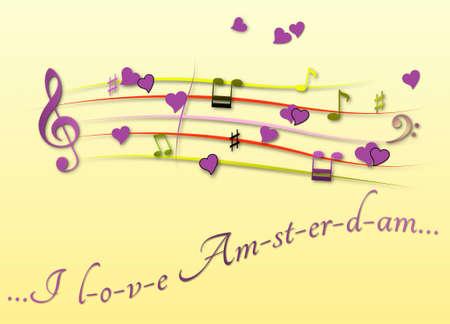 Musical score colored I love Amsterdam Stock Photo