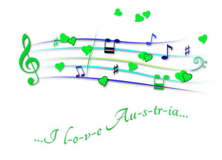 Musical score colored I love Austria