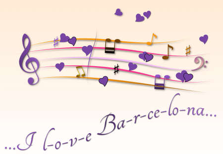Musical score colored I love Barcelona Stock Photo