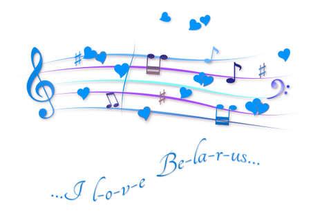 Musical score colored I love Belarus