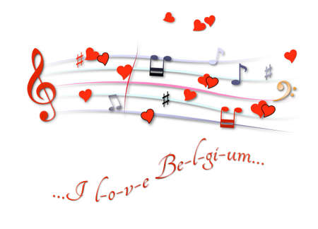 Musical score colored I love Belgium