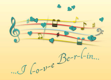 Musical score colored I love Berlin