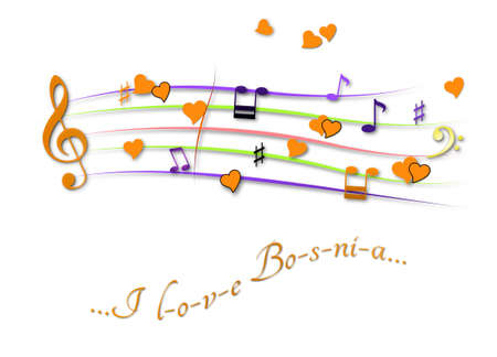 Musical score colored I love Bosnia