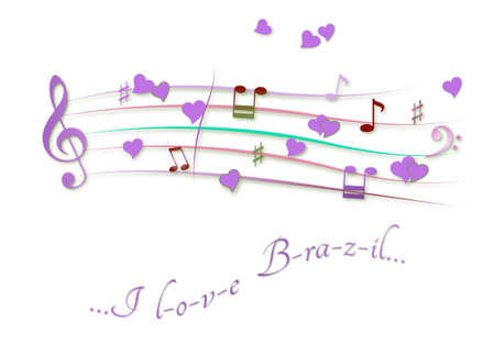 Musical score colored I love Brazil