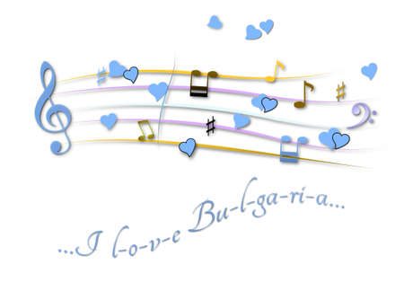 Musical score colored I love Bulgaria