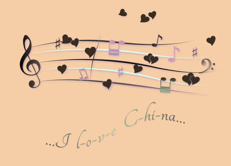 Musical score colored I love China