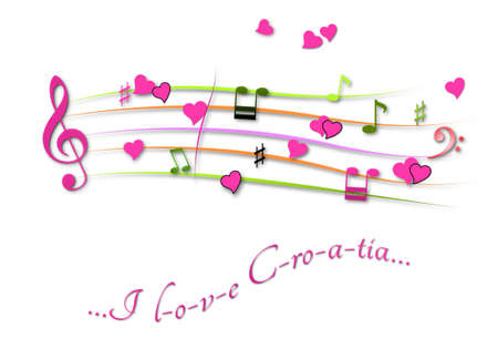 Musical score colored I love Croatia