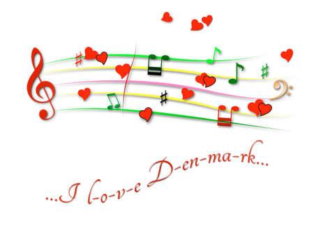 Musical score colored I love Denmark Stock Photo