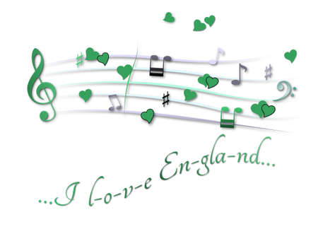 Musical score colored I love England Stock Photo