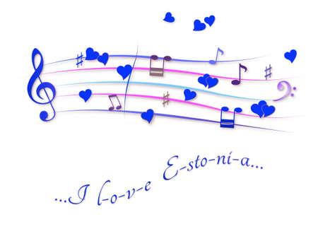 Musical score colored I love Estonia Stock Photo
