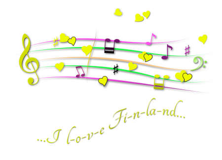 Musical score colored I love Finland
