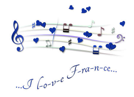 Musical score colored I love France