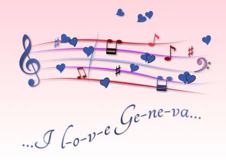 Musical score colored I love Geneva Stock Photo