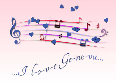 Musical score colored I love Geneva Foto de archivo