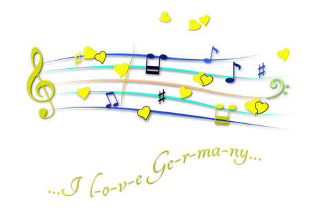 Musical score colored I love Germany