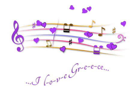 Musical score colored I love Greece