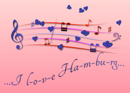 Musical score colored I love Hamburg Stock Photo