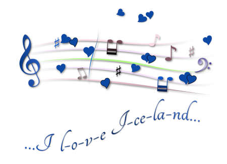 Musical score colored I love Iceland
