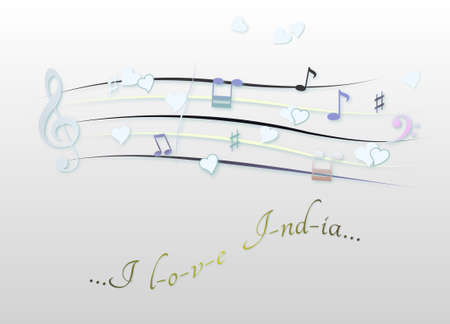 Musical score colored I love India
