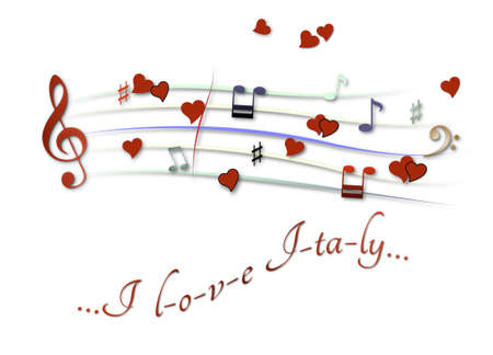 Musical score colored I love Italy