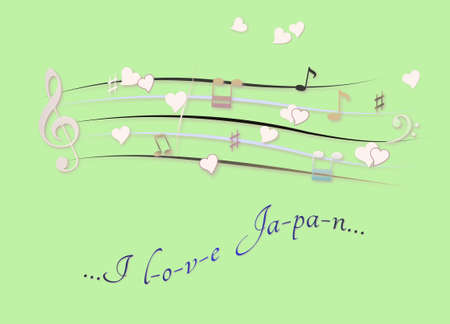 Musical score colored I love Japan Foto de archivo