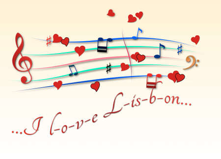 Musical score colored I love Lisbon