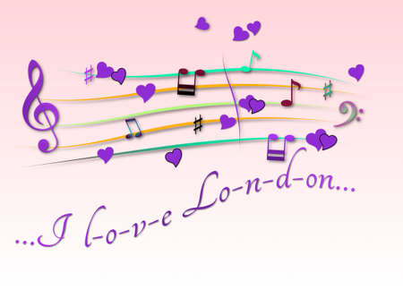 Musical score colored I love London Foto de archivo