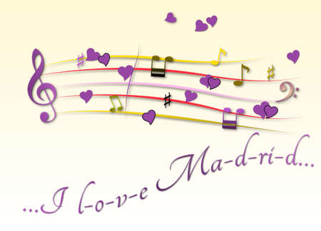 Musical score colored I love Madrid
