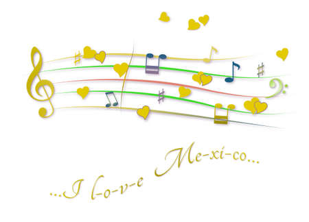 Musical score colored I love Mexico