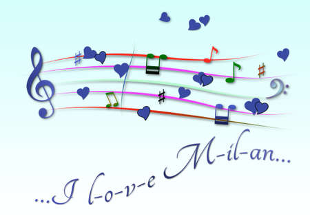 Musical score colored I love Milan