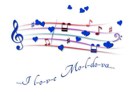 Musical score colored I love Moldova