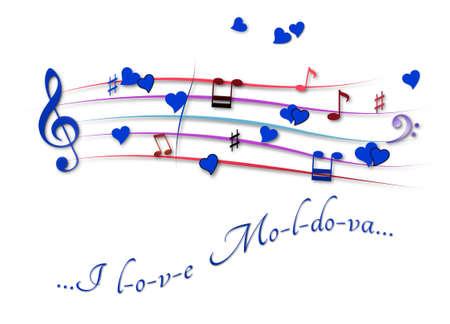 Musical score colored I love Moldova