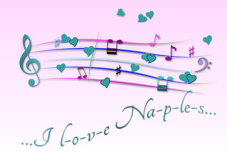 Musical score colored I love Naples