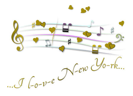 Musical score colored I love New York Stock Photo
