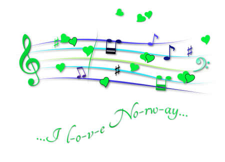 Musical score colored I love Normay
