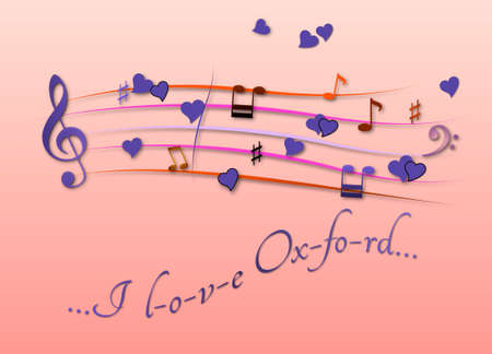 Musical score colored I love Oxford