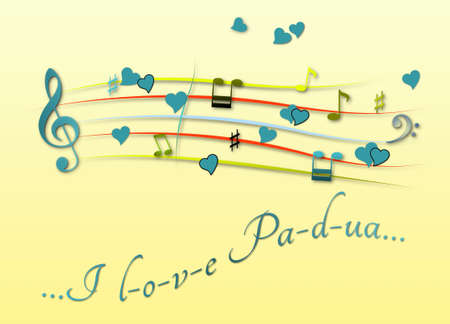 Musical score colored I love Padua