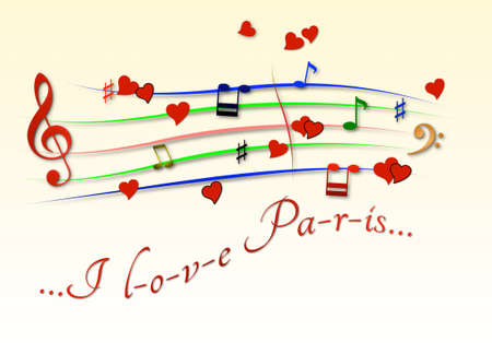 Musical score colored I love Paris Foto de archivo