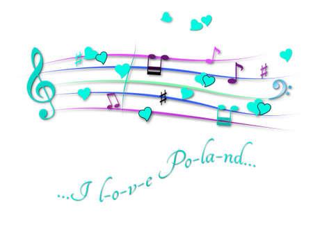 Musical score colored I love Poland