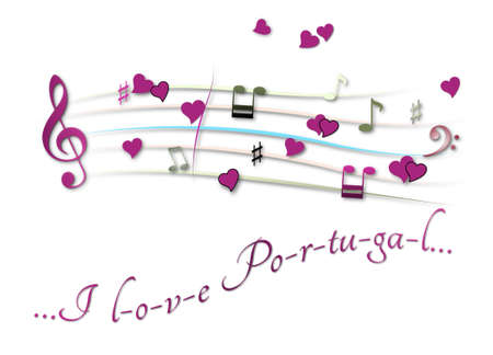 Musical score colored I love Portugal