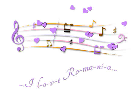 Musical score colored I love Romania Stock Photo