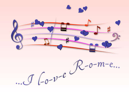 Musical score colored I love Rome Stock Photo